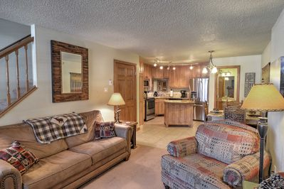 Escape to Red River in this 2-bedroom, 2.5-bath vacation rental townhome.