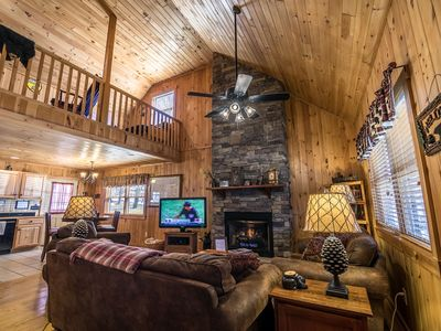 Photo for A Bears Hill - Log Cabin in Boone with hot tub, large yard and pond.
