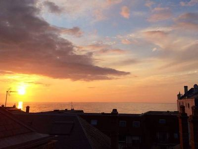 Photo for 3 room penthouse, magnificent sea views, in the heart of Houlgate
