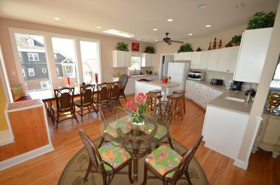 Open kitchen and dining room areas
