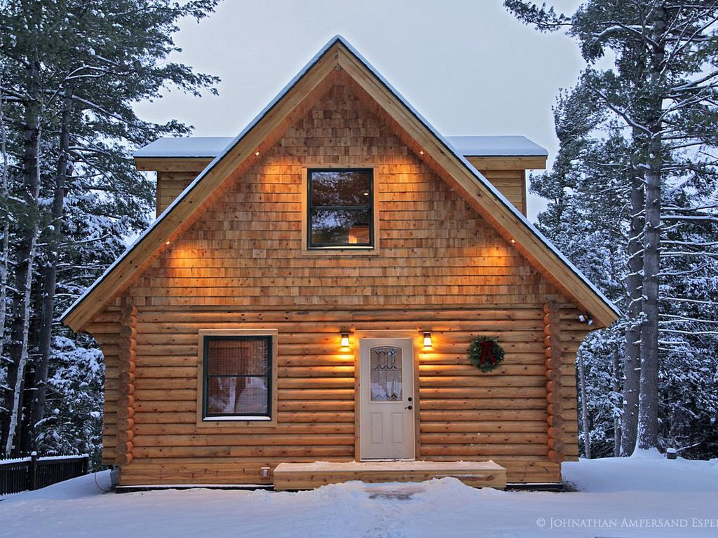 Cozy Adirondack Log Home In Winter With Soffit Lighting