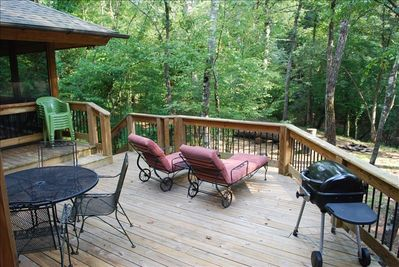 Fire up the grill and have dinner on the back deck overlooking the Etowah