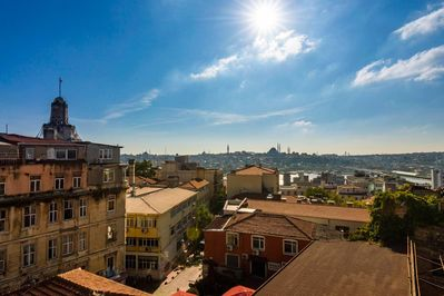 Enjoy a spectacular view of Istanbul from the rooftop terrace