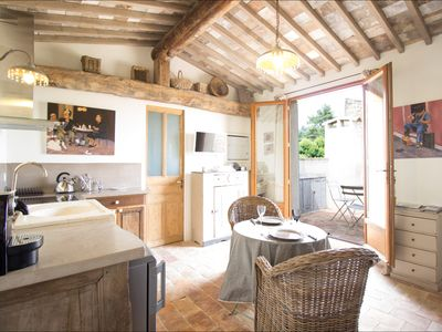 Photo for Renovated modern apartment in the heart of Lourmarin