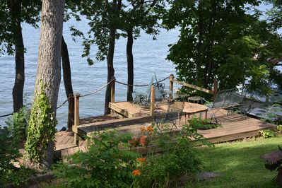 Large multi-level deck 256 with spectacular view of lake, abundant waterfowl
