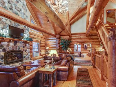 Photo for Secluded, waterfront log cabin w/game room, dock, fire pit & deck