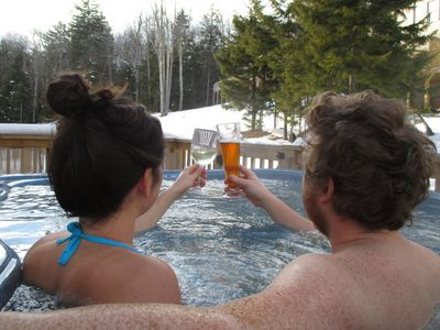 Photo for 4 BR-Sleeps 11, Spacious 1800 sq.ft, Private Hot tub, Walk to Slopes & Shuttle
