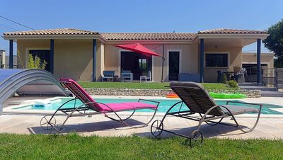 Photo for Villa Lucas on one level heated pool, enclosed garden