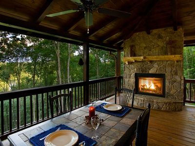 Photo for Outdoor Fireplace~Private Toccoa River/Mountain Views~River Access~Pavilion
