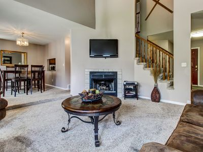 Photo for Spacious townhome w/ gas fireplace, private hot tub, pool table, & patio