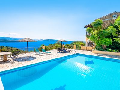 Photo for Beautiful villa with private pool, sensational views, just above Kerasia Beach