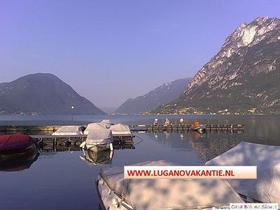 Photo for Luxury Chalet 5P directly on child-friendly beach of Lake Lugano
