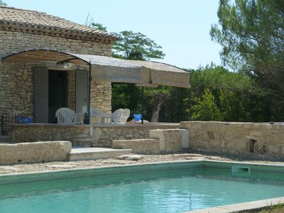 Photo for Charming stone cottage in Gordes-Luberon. Shared pool with 2 houses 10x5 m