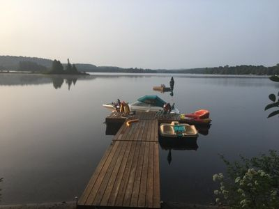 Photo for 2 Cottages on Oxtongue Lake, hot tub, next to Algonquin Park, 700 ft waterfront, 2.6 acres