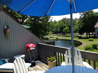 Deck with pond view.
