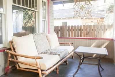 Large covered porch perfect for naps, reading and coffee!