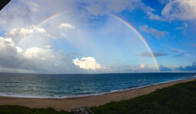 A beautiful rainbow over the ocean (view from balcony)