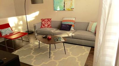 Living Room with new West Elm/CB2 Furniture