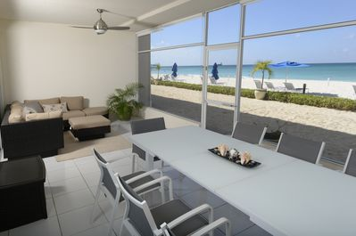 Patio looking straight out onto beach and sea