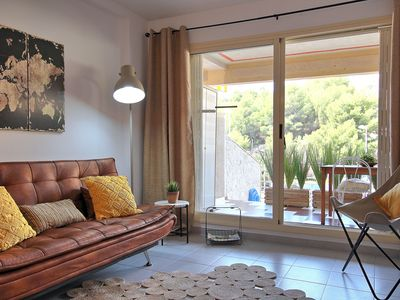 Photo for Beautiful apartment on the ground floor, terrace and views