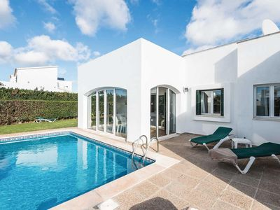 Photo for Whitewashed villa w/ pool, lawn + sun terrace in centre of village