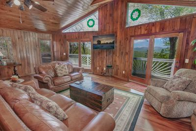 Longview Lodge Main Level Living Area with View and Access to Deck