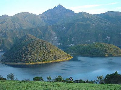 Laguna Cuicocha,at the foot of Volcano Cotacachi. Twin volcanic cones in center