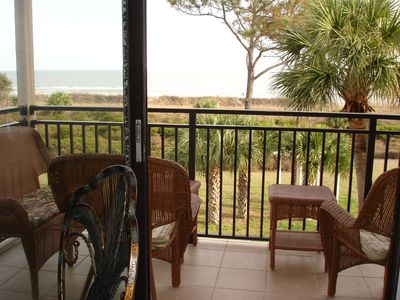 Direct Oceanfront Private balcony..naps. Two chairs,two tables and love seat .