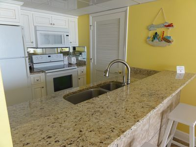 Beautiful new cabinet granite counter tops double sink!