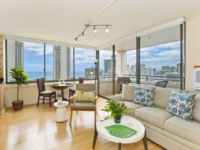 Photo for Ocean Views!  One bedroom, washer/dryer, WiFi, pool & one parking!
