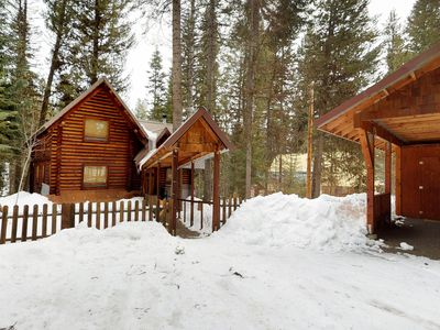 Photo for River view log cabin w/ wood stove & home conveniences - dogs welcome!