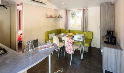 Photo for Camping Kalliste **** - Air-conditioned Family mobile home 3 rooms 4/6 people
