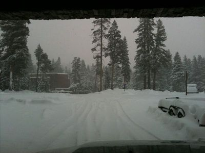 Covered Parking keeps the car clear of snow - BV Lodge is 100yd straight ahead