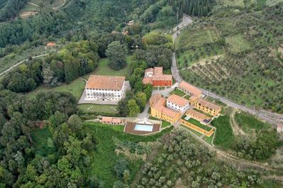 Aerial Historic Estate Villa Guinigi  Private, walled, gated, SPECTACULAR VIEWS!