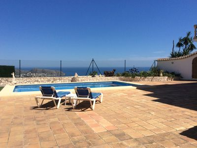 Photo for Amazing Views, 3 Bed Apmt, own Pool with large terrace and garden.