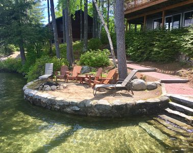 Perched beach w/fire pit; steps to clear water with sandy bottom - from dock.