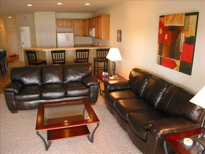 Living Room; 2 leather couches looking at the great view, 32' TV and fireplace