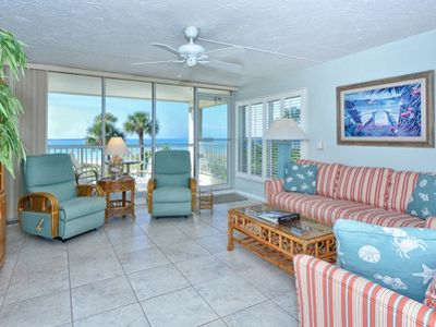 Photo for Breathtaking Gulf panorama from this corner unit with private stairway to the beach!