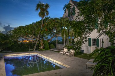 Buccaneer Hill luxuriously restored historic home with pool overlooking the harbor.  Walk to town and beach.