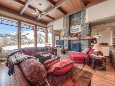 Photo for Ski-in, ski-out luxury home with Big Sky views, game room and hot tub, perfect for families