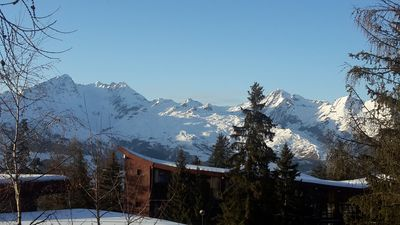 Photo for Les Arcs 1800, duplex 6/7 pers. ski-in ski-out, west terrace, Mont Blanc view