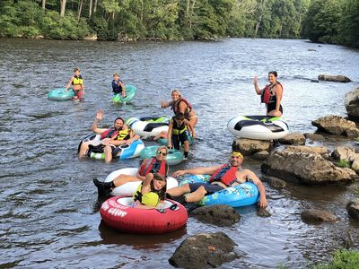 Walk up private river trail and tube down to the house or to Friendsville Park
