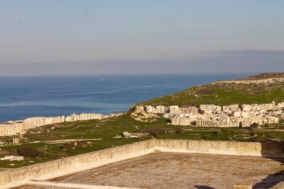 The views from our terraces. You can see Sicily on a clear day.