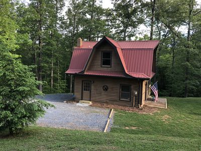 Photo for NEW Rental! Quiet and cozy on 5 acres w/ a hot tub!