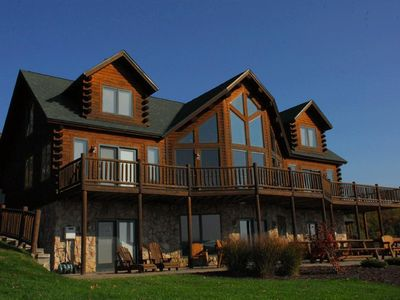 Photo for Exquisite 5 Bedroom Luxury Log home offers amazing lake & mountain views!