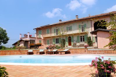 Facade, courtyard and private pool
