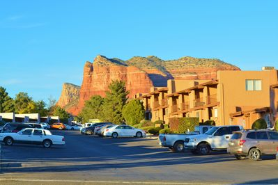 Step outside to partake of the vibrant red rock views.