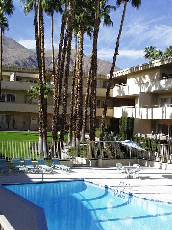 From pool looking west  Subject condo is ground floor on the right side of  pic. Downtown Palm Springs   Walk Everywhere      HomeAway Palm Springs