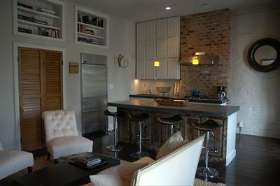 Open Kitchen with Viking Cooktop and Stainless Appliances