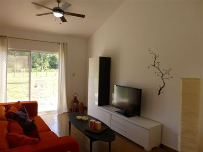 Complete with TV, DVD player and WIFI.  Some DVDs come with the house or bring
